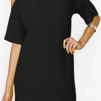Cut-Out Shoulder Chiffon Shift Dress