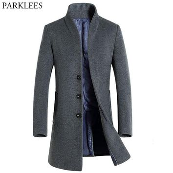 Men's Long Wool Trench Coats Winter Thicker Trench Coat Men Single Breasted Pea Coat Overcoat Casual Slim Fit Windbreaker