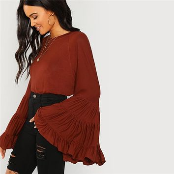 Rust Workwear Elegant Tiered Flounce Bell Sleeve Ruffle Long Sleeve Solid Blouse Minimalist Women Tops And Blouses