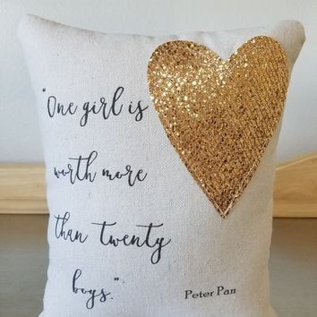 Pillow Peter Pan throw pillow quote cushion tween room decor