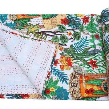 Indian Kantha Quilt Handmade Kantha Bedcover Throw Cotton Blanket Gudri Blanket Bedspread