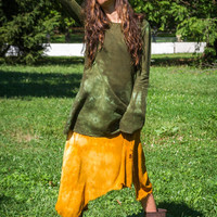 Hand Dyed in Green Mini Hooded Dress with Extra Long Sleeves S/M