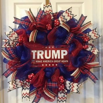 Trump Wreath,Make America Great Again,Deplorable Wreath,Republican, Trump,Trump for President,American Wreath,Fall Deco Mesh,Fall Wreath
