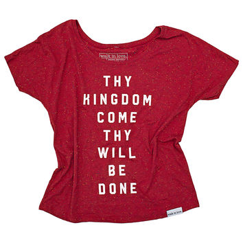 Thy Kingdom Come Red Speckled Women's Flowy Tee