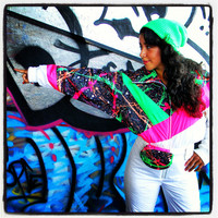 Vintage 80s 90s Ski Suit. Snuggler One Piece Snowsuit. Neon Pink. Neon Green. White. Black. Splatter Paint. MATCHING FANNY PACK. Small S