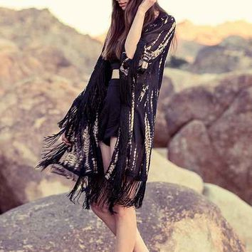 Staring At Stars Tie-Dye Fringe Kimono Jacket - Black Multi