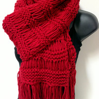 Knitted Christmas Scarf. Unisex Knit Scarf