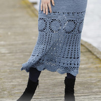 Long Skirt Lace crochet skirt handknit skirt blue skirt gothic lolita victorian steampunk fashion Drops Lilith Handmade