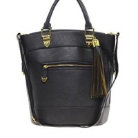 River Island Black Tassel Bucket Bag at asos.com