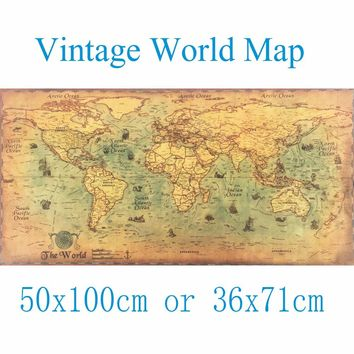 50X100CM Large Vintage  World Map Kraft Paper Paint  Wall Sticker Poster Living Room Art Crafts Maps bar cafe Pub Home Decor