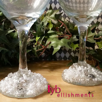 Embellished Wedding Glasses, Decorated Wine Glasses, Beaded Wine Glasses, Decorated Glasses, Embellished Glasses, Wine Glasses, Kitchen