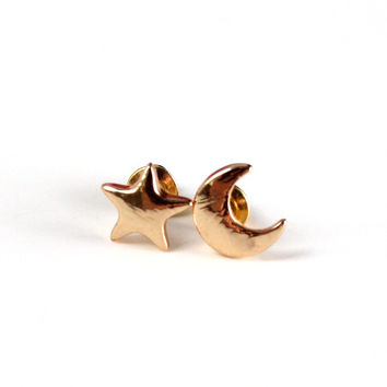 Gold Star and Moon Stud Earrings