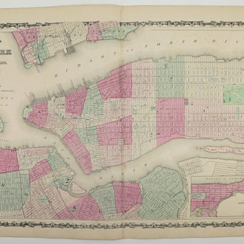 New York City Map Antique Map of NYC 1862 Original Vintage Map of New York City Manhattan Brooklyn Big Apple Johnson Old Color NYC Street