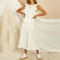 Cotton linen white jumpsuit womens rompers Elegant female jumpsuit long Hollow out embroidery backless overalls