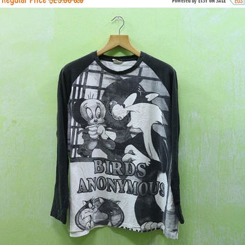 15% SALES Vintage 90s Tweety And Sylvester Looney Tunes Warner Bros Birds Anonymous Long Sleeves Tee T Shirt