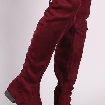 Suede Drawstring Tie Over-The-Knee Riding Boots