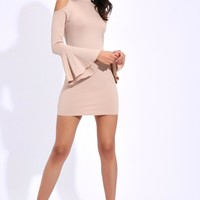 Nude Flare Sleeve Cut Out Shoulder Dress
