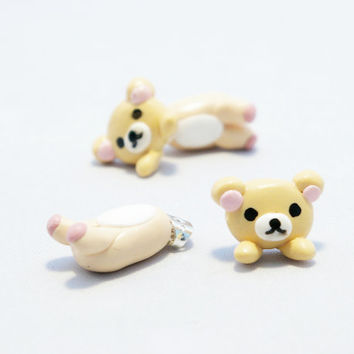 Korilakkuma earrings, kawaii fake gauge plug two part Lion Earrings, Polymer Clay Adorable Jewelry,  Cute Pet Jewelry, Polymerclay, handmade