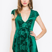 Emerald Deep V Velvet Dress