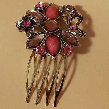 Pink Crystal Hair Comb, Rhinestone Wedding Comb, Wedding Hair Accessories, Prom Hair comb, Silver Hair Comb, Vintage Style