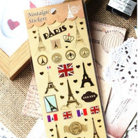 NEW Cute Golden Sticker PARIS/Diary Deco Sticker/Embellishment/Romantic PARIS /Paris stickers/Effel tower sticker/paris planner stickers