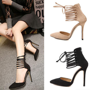 Trendy Strappy Pointy Toe Stiletto High Heels