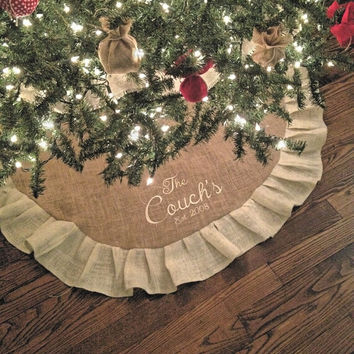 "Monogrammed Christmas Burlap Tree Skirt 60"" with ruffle, personalized, great christmas gifts"