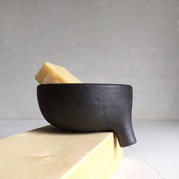 Long-Spout MATTE BLACK SOAPDISH with strainer for bathroom sink, ceramic, pottery, handmade, soap dish, soap tray, soap holder