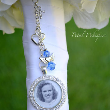 Bridal Bouquet Charm - Bouquet Photo Charm - Something Blue - Bridal Accessories - Wedding Photo Charm - Bridal Gift - Bouquet Picture Charm