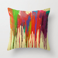 Funky Bright Paint Drip Design Fabric Pillow Cover. Bold, Neon, Bright Faux Paint Drips add some character to your couch.