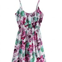 Cotton Sleeveless Round Neck Floral Print Harness Cotton Dress Style 823dr001401 ( color) style 823dr001401 in  Indressme