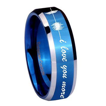 8MM Shiny Blue Sound Wave i love you more more Bevel Edges 2 Tone Tungsten Laser Engraved Ring