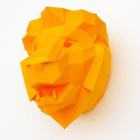 DIY papercraft template Lion Trophy head no. 4, 3D puzzle
