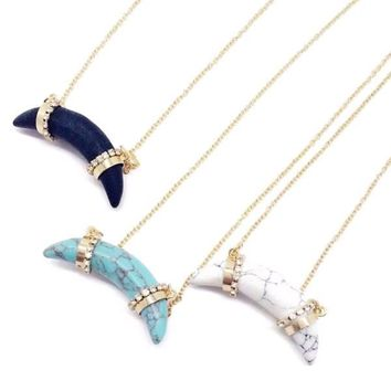 Scyler | Stone Horn Necklace