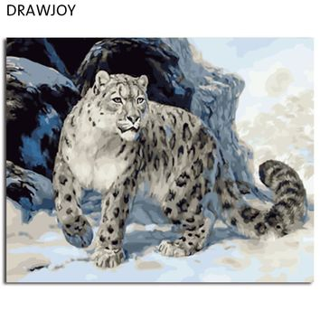 DRAWJOY Framed Animal Leopard DIY Painting By Numbers On Canvas Painting And Calligraphy Wall Art For Home Decor 40x50