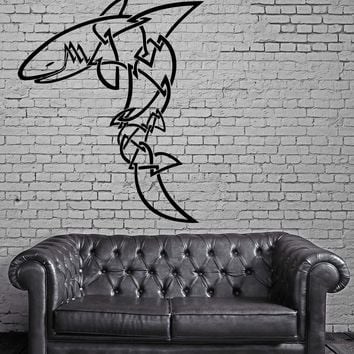 SHARK TRIBAL PREDATOR DECOR Wall MURAL Vinyl Art Sticker Unique Gift M129