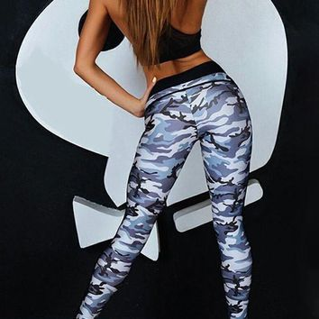 Black Camouflage Print High Waisted Sports Yoga Workout Long Legging