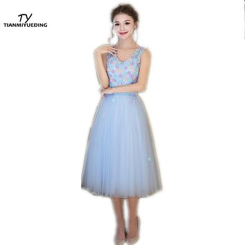 TIANMIYUEDING Light Pink Cocktail Dresses 2017 V-Neck Appliques Tulle Tea-Length Lace Up Back Sexy Short Prom Dress Cheap