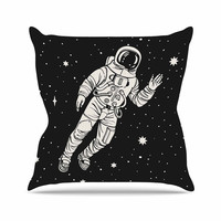 "Kess Original ""Space Adventurer"" Black Fantasy Throw Pillow"