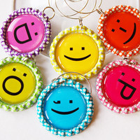 Emoticon charms, Wine Glass Charms, Wine Charms, Bottlecap wine charm, Emoticons, Geek, polka dot