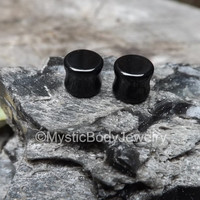 0g Plugs Black Agate Stone Double Gauges Flair Gauge Flare Earlobes Ebony Onyx Earrings Stretched Ear Jewelry Gemstone Plug Pair Stretchers