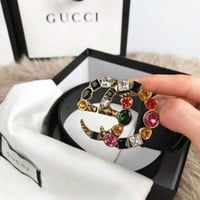 GUCCI Fashion Women Butterfly Pearl Diamond Smooth Buckle Belt More Style Couple Leather Belt