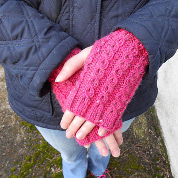 Gift for Her. Pink Knit Gloves. Knitted Fingerless Gloves. Cable knit gloves. Wrist Warmers, Texting Gloves. Finger less Mittens.
