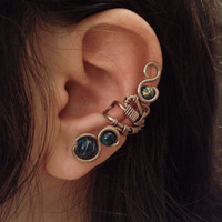 SALE-Steampunk Blue Ear Cuff