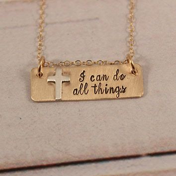 """I can do all things"" Gold Filled Necklace - Philippians 4:13 - Ready to ship sample"