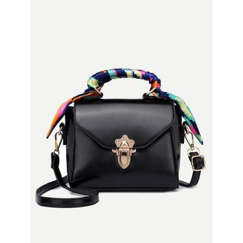 Black Twilly Scarf Push Lock Shoulder Bag