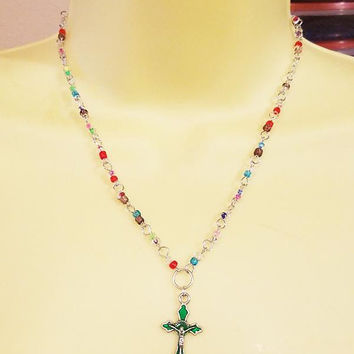green cross necklace rosary bead necklace crucifix charm pendant glass beaded jewelry religious