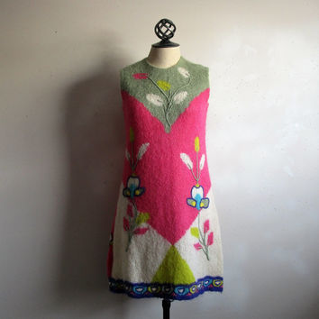 Vintage 60s Knit Scooter Dress KNITALIA Pink Green Wool Floral Embroidery GoGo 1960s Day Dress Small