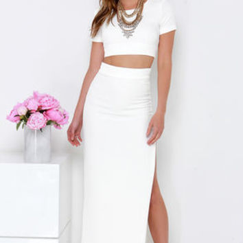 Fool Me Twice Ivory Two-Piece Maxi Dress