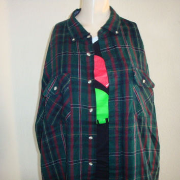 vintage PLAID red blue green button up oversize large xl retro comfy FLANNEL shirt women Oxford unisex hipster grunge